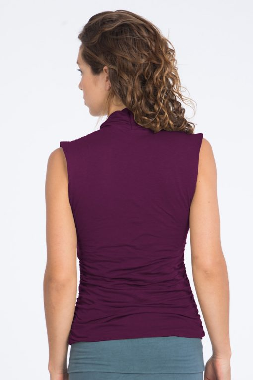 Cool organic yoga top for women in burgundy red