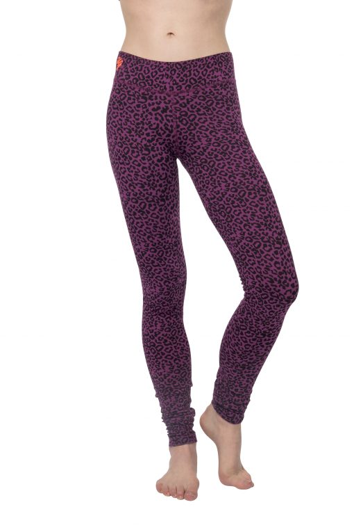 Bhaktified yoga leggings with leopard print in Very Berry By Urban Goddess