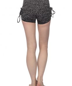 Yoga shorts Devi Glam in grey with leopard print