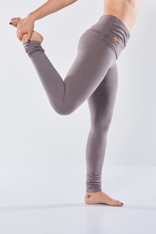 Eco yoga legging Shaktified in grijs van Urban Goddess met omslagband