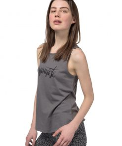 Grey Free Spirit yoga tank top made of organic cotton