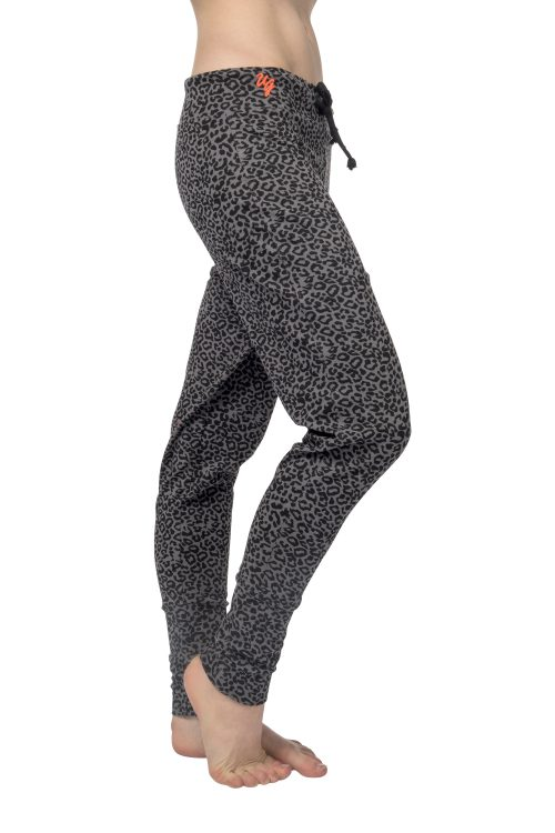 Loose fit yoga pants Life is a Dance - Volcanic Glass leopard for women