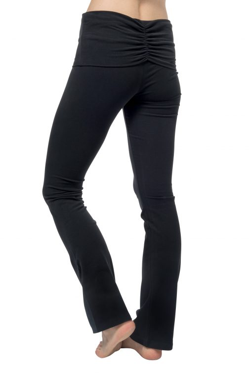 Organic yoga pants Pranafied Urban Black with flared wide legs