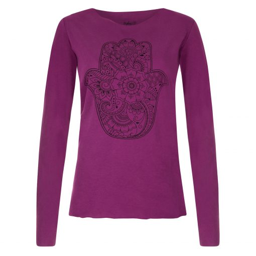 Protection yoga tee met lange mouwen in Very Berry