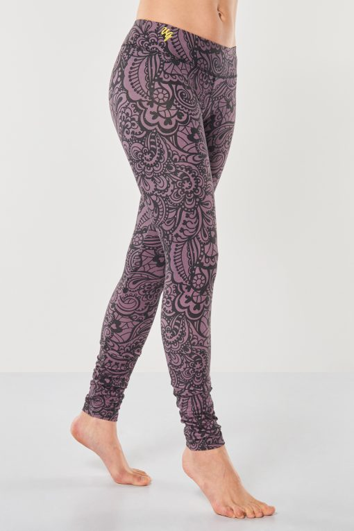 cool yoga leggings Bhaktified Anjali with floral print in Jungle Orchid