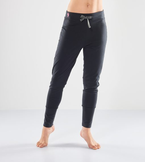 Black loose fit yoga pants Life is a Dance made of organic cotton