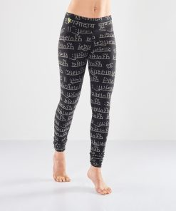 Bhaktified yoga leggings with mantra print for women