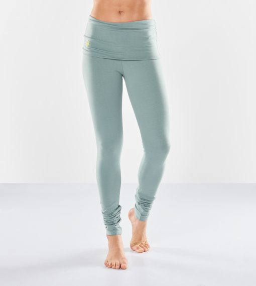 Shaktified yoga leggings with a fold-over belt made of eco cotton for women