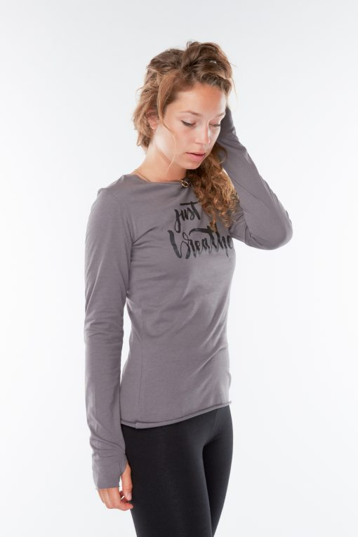 Organic Yoga t-shirt Just Breathe for women with print