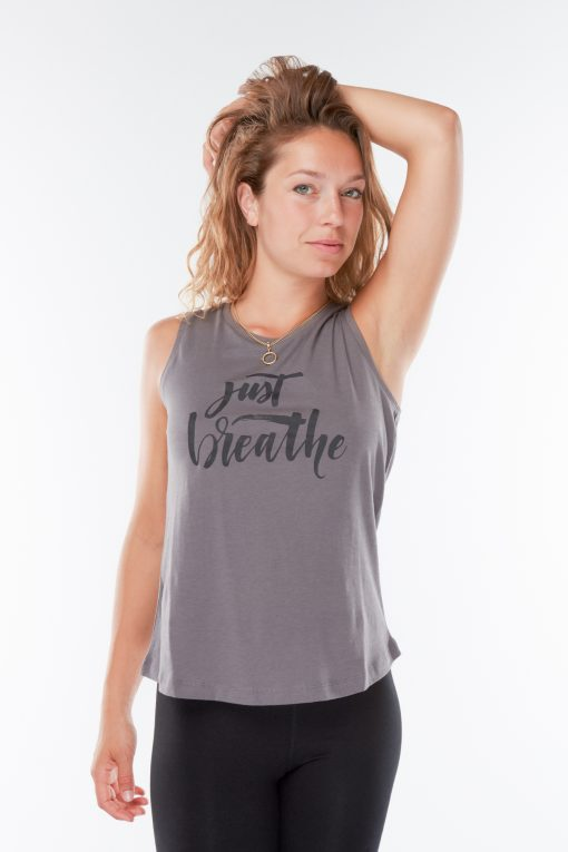 Cotton Yoga Tank Top Just Breathe - Volcanic Glass for women