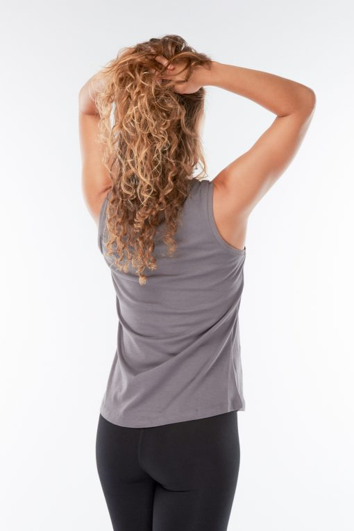 Cotton Yoga Tank Top Just Breathe in grey
