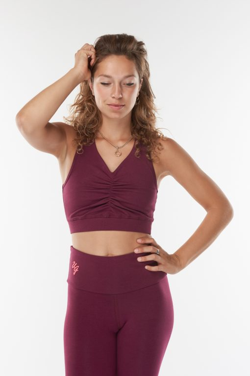 Organic yoga sports bra Ananda in Deep Cherry by Urban Goddess