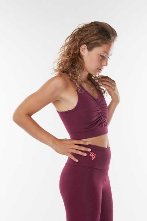 Organic yoga sports bra Ananda in Deep Cherry for women
