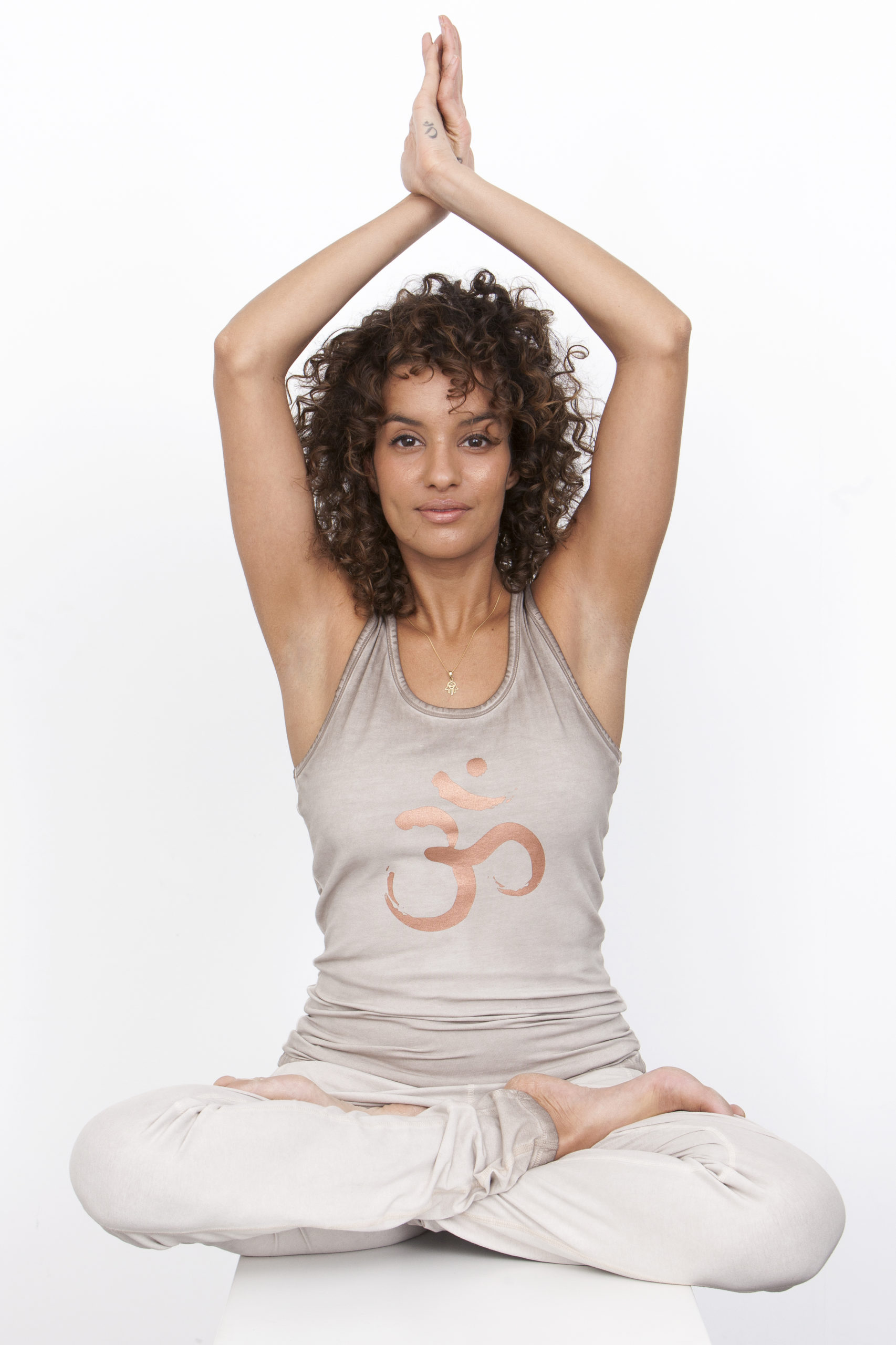 Yoga Tank Top OM Off Earth - model sitting front
